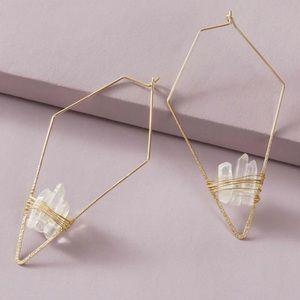 NWT Anthropologie hoop stone earrings